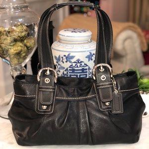 Coach Black Pleated Leather Soho Shoulder bag good
